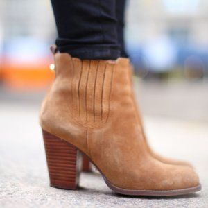 C WONDER Chambray Ankle Booties Heeled Suede 8M
